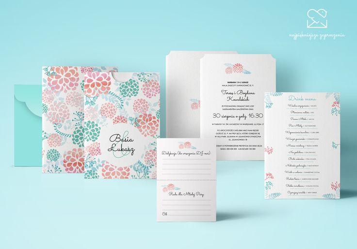 Motyw ogrodowy - papeteria ślubna  zaproszenia ślubne // Summer garden wedding stationery theme, mint peach flowers wedding invitations, color palette, inspirations http://najpiekniejsze-zaproszenia.pl/motyw-ogrodowy/