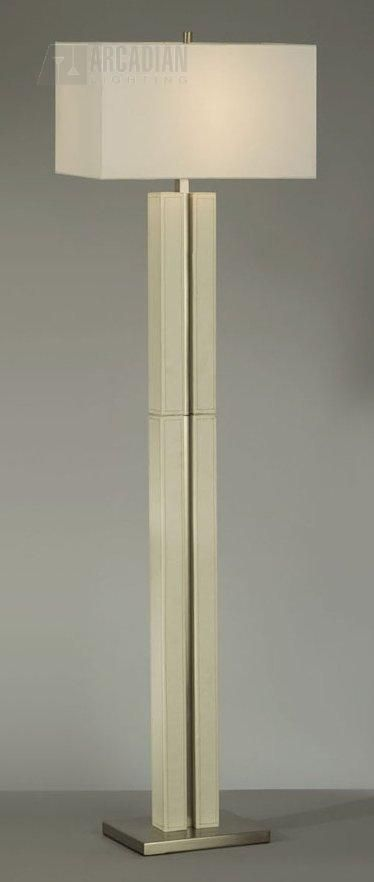 Floor Lamp - Beautiful contemporary linear floor lamp with square linen shade.