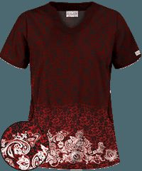 UA Lively Lace Red Print Scrub Top