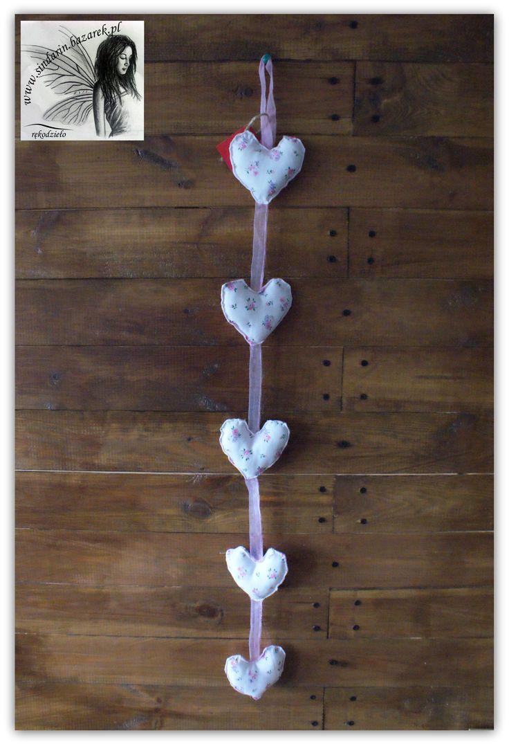 Girlanda serce różowe, ręcznie szyta. www.sindarin.bazarek.pl