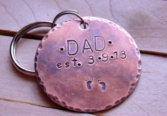 New Dad Keychain- New Father Keychain-Father Gift-Gft for Dad-Custom Personalized Keychain for the New Father on Etsy, $17.00