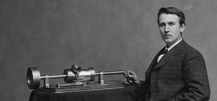 Thomas Edison with his second phonograph, photographed by Mathew Brady in Washington, April,1878. Library of Congress