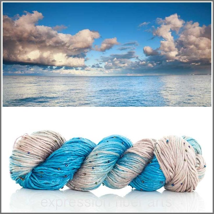 """Expression Fiber Arts ~ """"Calm After The Storm"""" Beaded Silk Worsted Weight, 225 yds. (http://www.expressionfiberarts.com/products/calm-after-the-storm-beaded-silk-worsted.html)"""