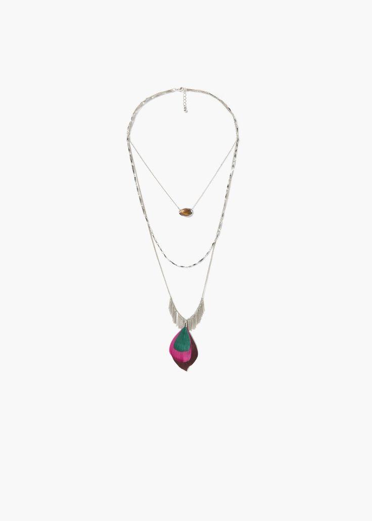 Многоярусное ожерелье с пером   MANGO