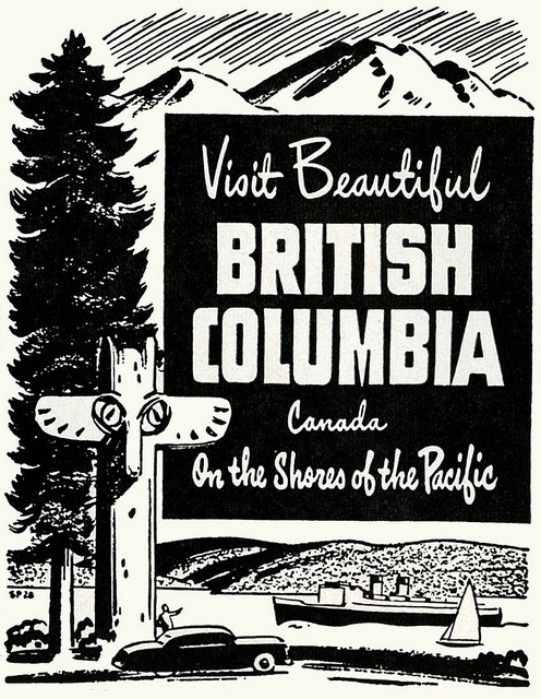 Canadian travel poster British Columbia 1950s