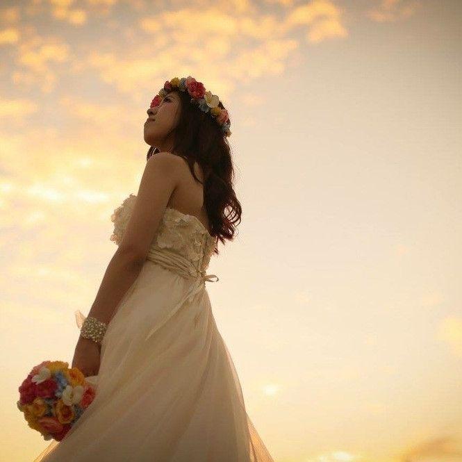 ハワイフォトウェディングの花嫁様♡ の画像|アートフラワーウェディング greenplus