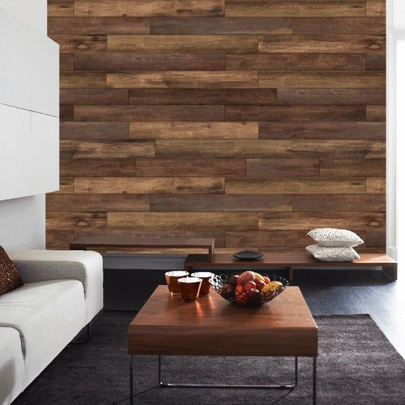 Wood Wallpaper Peel And Stick Removable Wallpaper Recycled Wood Self Adhesive Temporary Custom Size In 2021 Wood Walls Living Room Stick On Wood Wall Wood Wallpaper