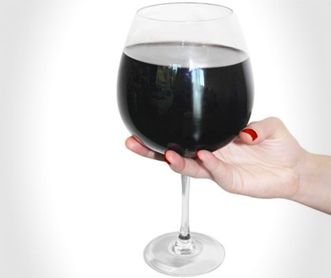 The right glass to bottle ratio is 1 to 1! #GiantWineGlass #Wine #GiftIdeas #Canada http://giftideascanada.com/giant-wine-glass/