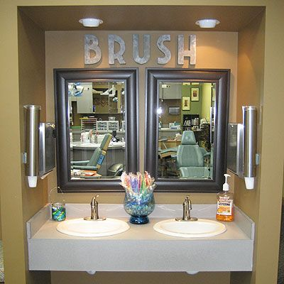 Brushing station at Pediatric Dentist