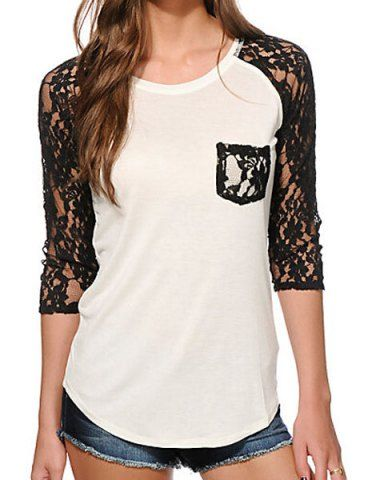 Fashionable Lace Splicing 3/4 Sleeve Slimming T-Shirt For WomenT-Shirts | RoseGal.com
