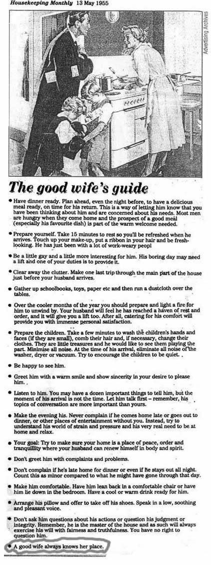 LOVE !!!! The Following is from a 1950s home economics textbook intended for high school girls, teaching them how to prepare for married life ...