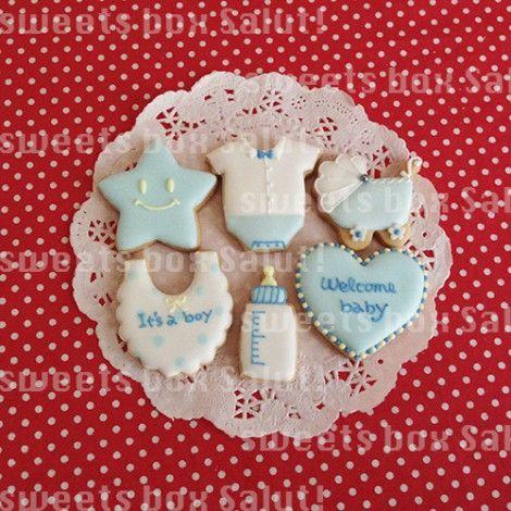 人気!ベビーシャワーのアイシングクッキー   sweets box Salut!