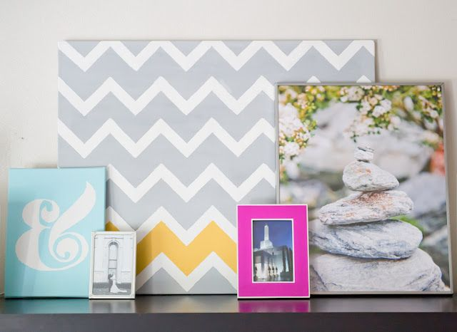 gray chevron with one yellow. maybe paint one of the walls like this?