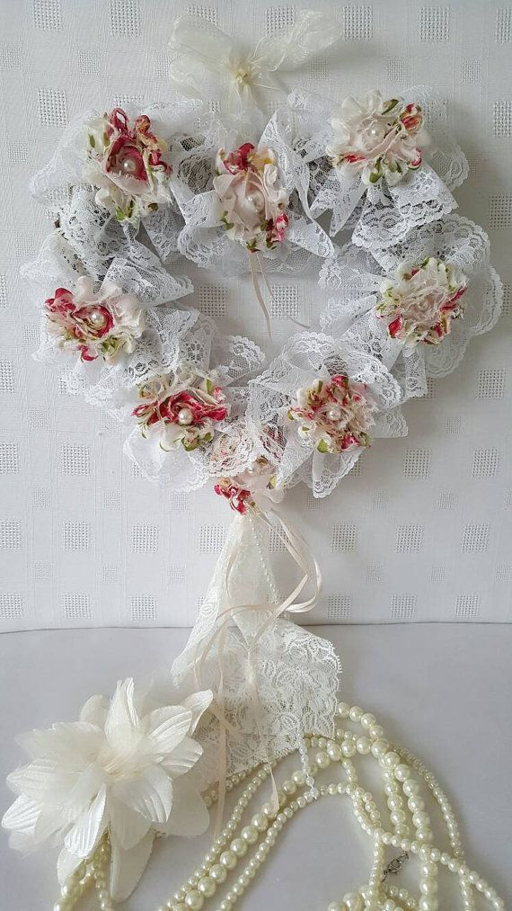 Hey, I found this really awesome Etsy listing at https://www.etsy.com/listing/265371591/shabby-chic-white-lace-heart-shabby-chic