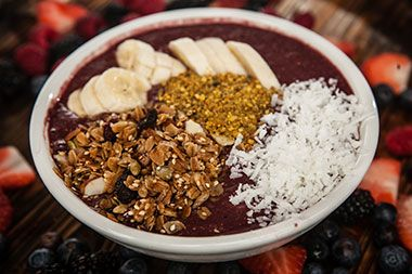 The California Bowl!  Blend 1 scoop of Organic Acai Roots Sorbet or 1 (3.5oz) pouch with 4 oz of Cranberry Juice, 3 strawberries, pineapple until smooth and serve topped with any kind of fruits, nuts, coconut Flakes and granola.
