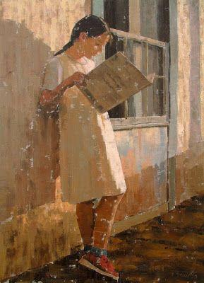 """Pedro Fausto Rodriguez Perez (Spanish, b. 1955) - """"Niña con libro"""" (Girl with book)"""