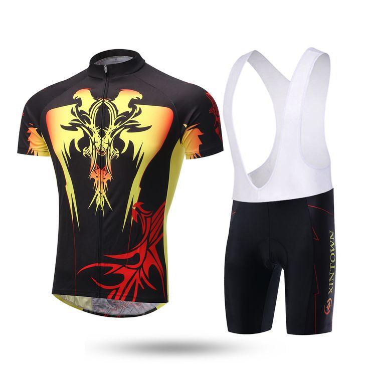 XINTOWN Men Cycling Jersey Sets eagle Mtb Clothing  Masculino ropa ciclismo Bicycle Bike Sportswear Jersey bib Shorts Suits