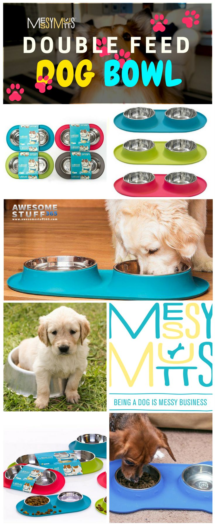 Keep your pet's feeding bowls in one place, mess-free, and prevent damaging the floor with this Double-Feed Dog Bowl!  Most of all, it is removable and dishwasher safe! Check it out ⬆