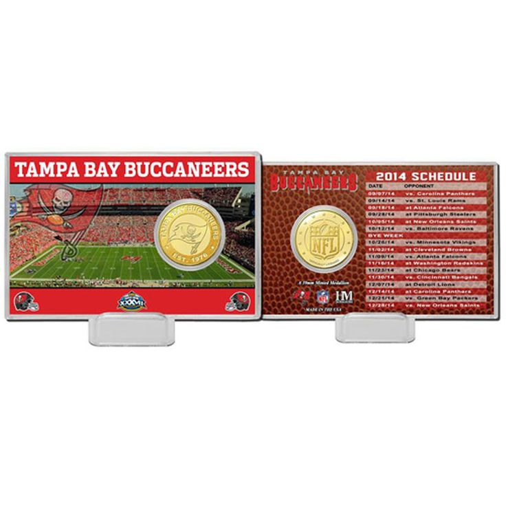 Tampa Bay Buccaneers Highland Mint Schedule Coin Card