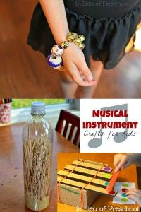 This page has several musical activities for exploring sound. Some are store-bought but could be crafted from available materials. From In Lieu of Preschool.