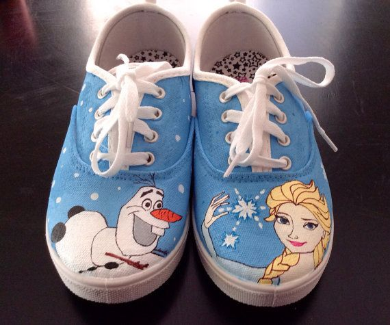 Frozen Hand Painted Sneakers Birthday by CustomShoesbySabrina, $49.00