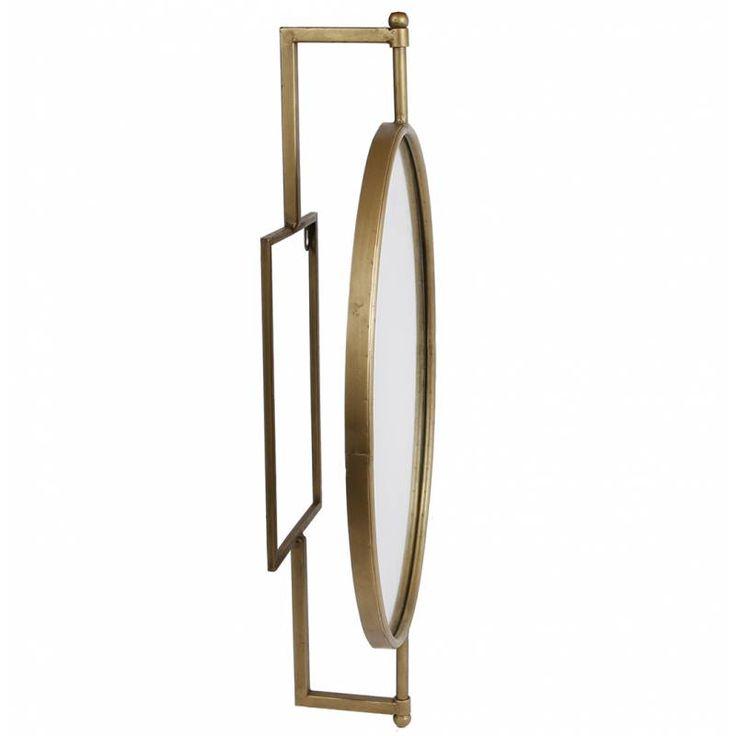 Miroir Mural Industriel à Poser Glace Ovale Orientable à Fixer en Fer Patiné Laiton Doré 12x37x68cm