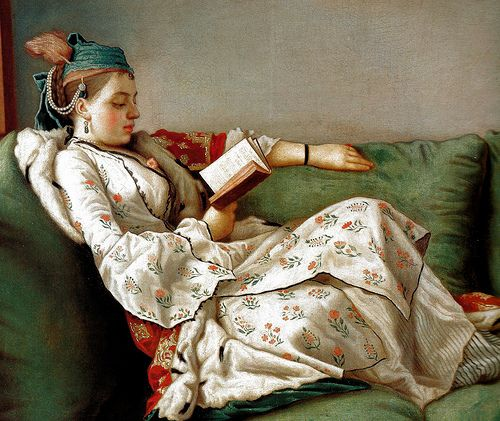Jean-Etienne Liotard - Maria Adelaide, Reading, 1753 at Uffizi Gallery Florence Italy
