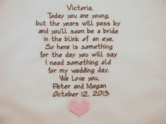 ... wedding hankies gift poem personalized hankies poem Wedding, Giving