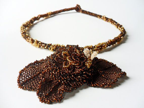 Crocheted and Embroidered Necklace Beaded Heavy Necklace by EFCI