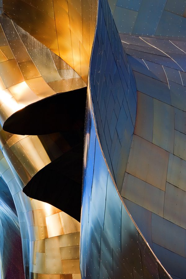 Sheet Metal - Typical Frank Gehry sheet metal work on Seattle's Experience Music Project (EMP) building. While not generally regarded as one of Gehry's better buildings, isolated sections like this still look quite remarkable. Cameron Booth