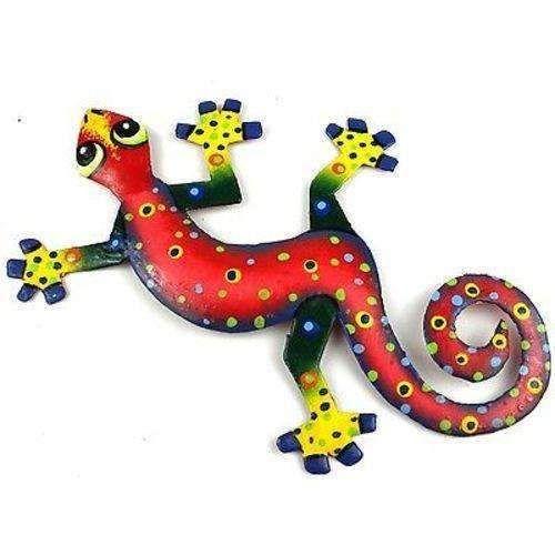 Eight Inch Red Confetti Metal Gecko - Caribbean Craft