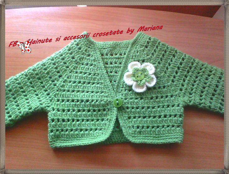 Hainute si accesorii crosetate by Mariana: Bolero verde crud