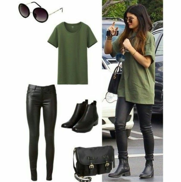 kylie jenner khaki outfit shoes t-shirt top