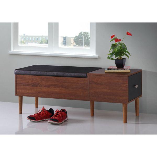 baxton studio merrick midcentury retro modern oak dark brown wood entryway storage cushion bench