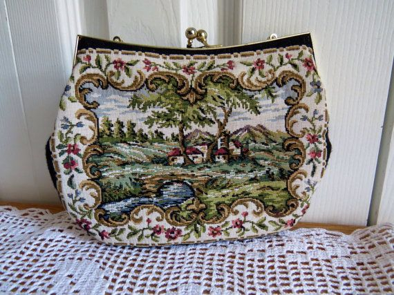 Vintage BLACK TAPESTRY PURSE DuVal Gold by CreativeWorkStudios, $24.00