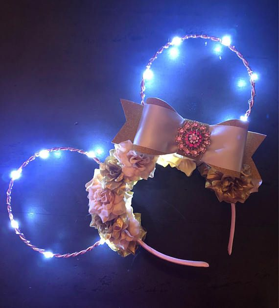Light Up Pink Rose Gold Mouse Ears Mickey Ears Pinterest