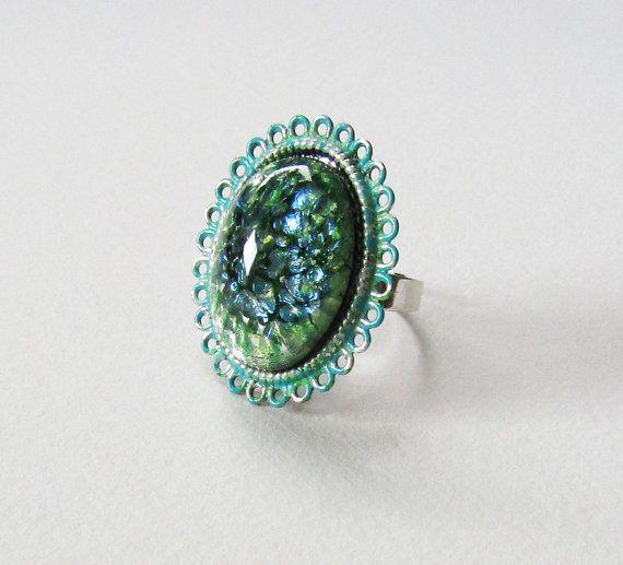 Mermaid, Dragons Breath Green Fire Opal, Painted Rings, Mermaid Egg Ring, Mermaid Egg, Rings, Green Ring, Mermaid Jewelry, Mermaid Rings