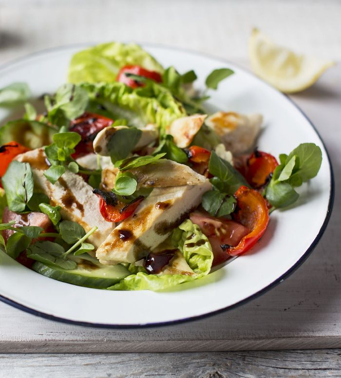 Pack that summer salad with lean protein! Warm chicken salad with balsamic glaze will make you feel completely satisfied.