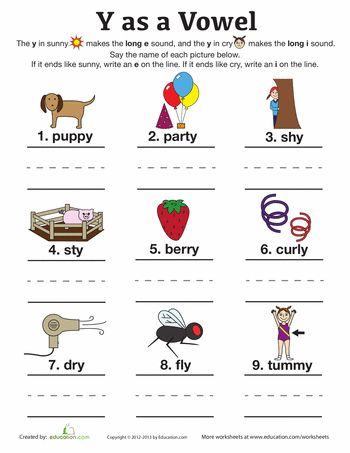 Worksheets: Y as a Vowel