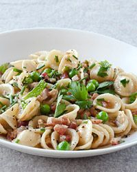 Orecchiette with Pancetta, Peas and Fresh Herbs | Chives, parsley and mint amp up the flavor for this fast pasta dish.