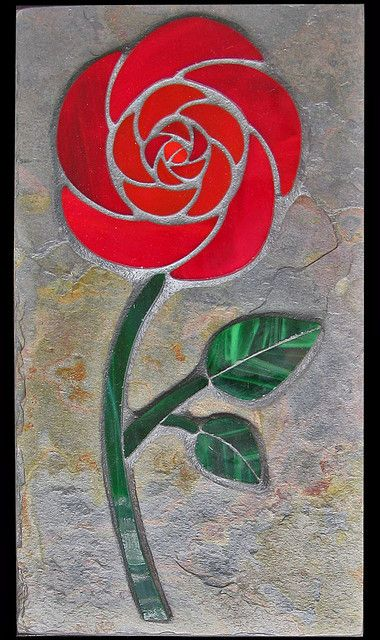 Red Rose Stained glass on slate