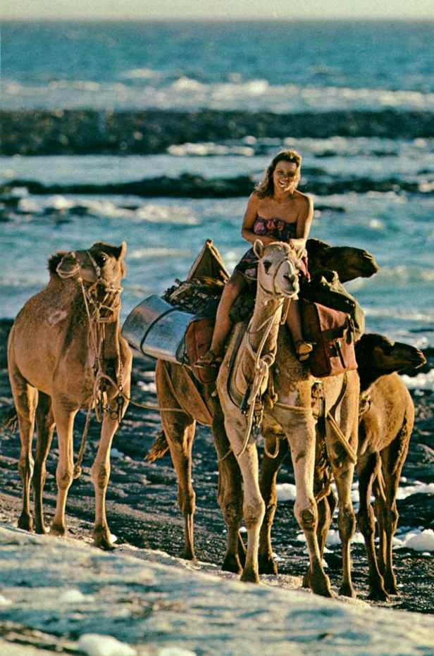 Robyn Davidson and her camel caravan by Rick Smolan. National Geographic, May 1978.