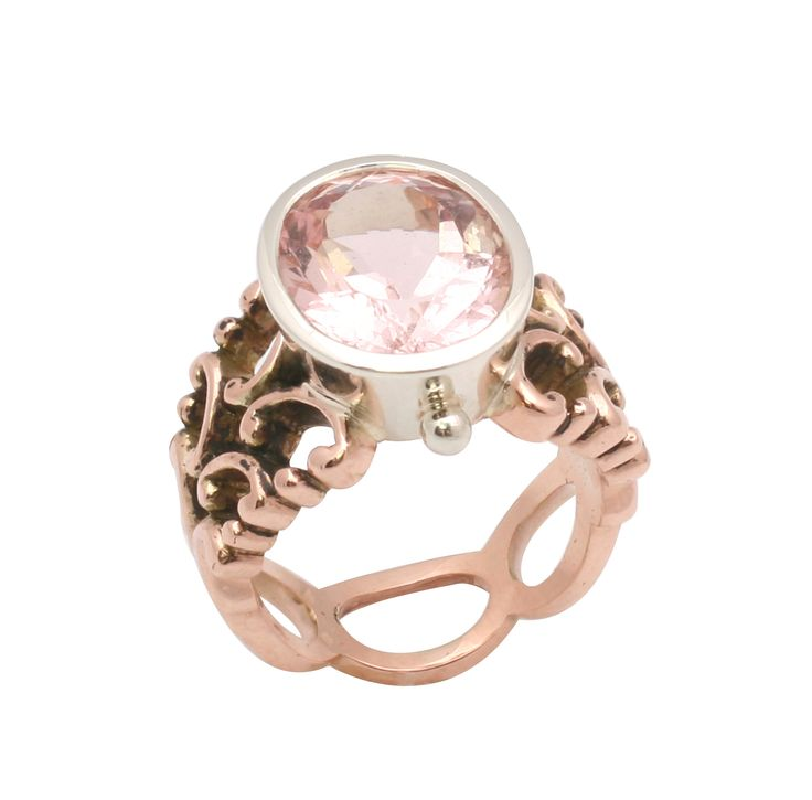 Morganite set in a White Gold bezel and Rose Gold filagree band by Giovanni D'Ercole of Love and Hatred http://www.loveandhatred.com.au