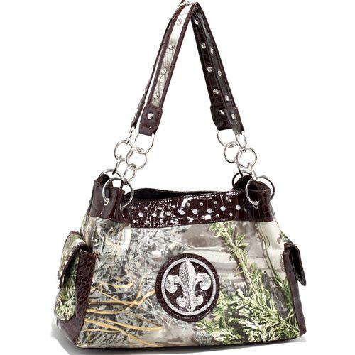 Real Tree (R) camouflage Fleur de Lis accent shoulder bag handbag - Coffee Q311-EM-RT1-52830A MAX1/CF