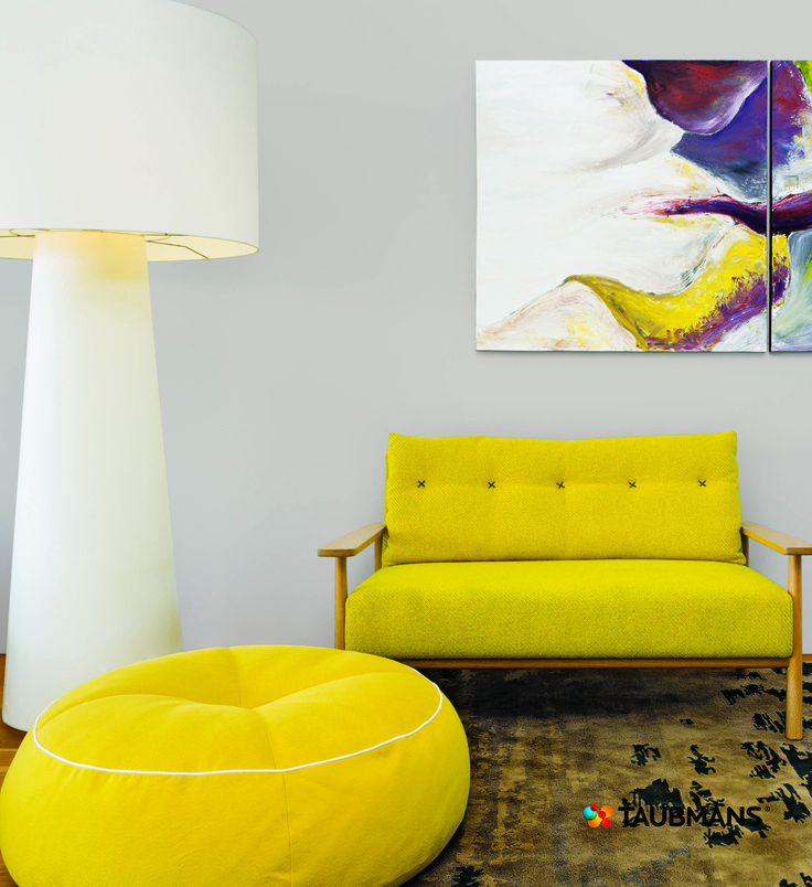 Simple colour combinations like this yellow and purple gives sophistication to a minimalist contemporary interior. #Taubmans