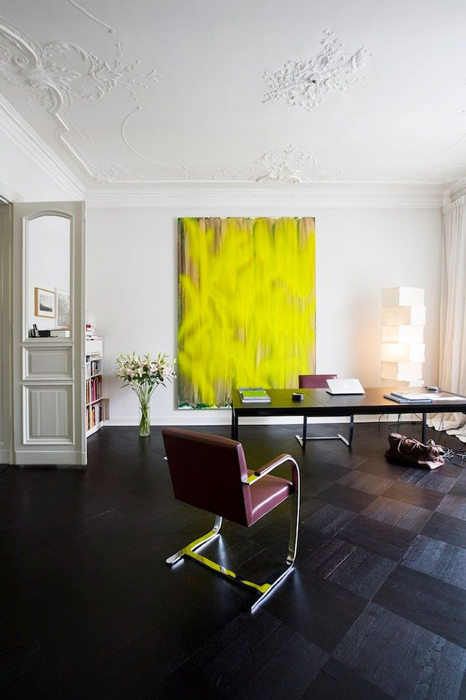 lime-yellow artwork...looks like curtains draped over canvas then painted with broad strokes with brush then spray painted. Love the burst of color and scale of this piece.