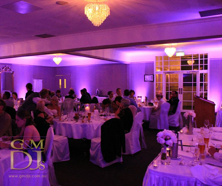 Purple wedding lighting at Brisbane Golf Club | G&M DJs | Magnifique Weddings #gmdjs #magnifiqueweddings #weddinglighting @gmdjs #brisbanegolfclub