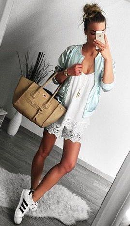 #winter #outfits /  Blue Jacket // White Lace Dress // White Sneakers // Camel Leather Bag