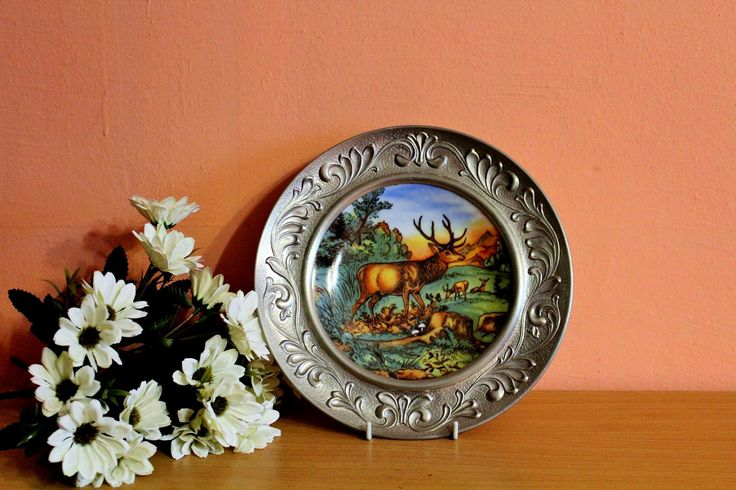 Vintage Rein Zinn BMF Creidlitz Germany Porcelain Plate in Pewter Frame, Wall Hanging Plate, Moose Deer In the Forest by Grandchildattic on Etsy