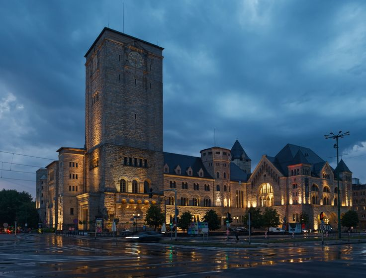 Night view of Imperial Castle at Poznan - Rainy evening view of Imperial castle  in Poznan, Polland. Stitched panorama.